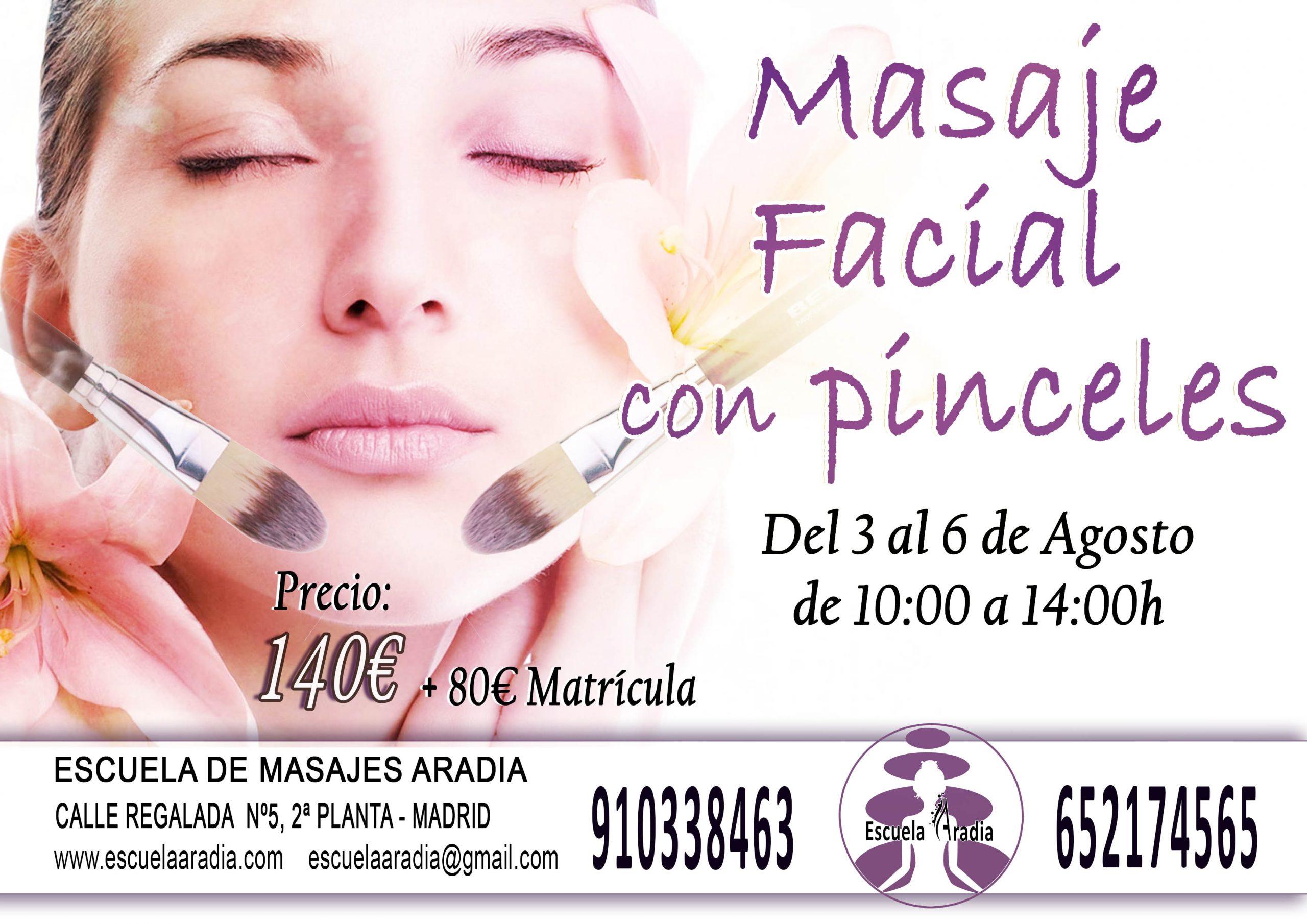 publicidad masaje facial con pinceles